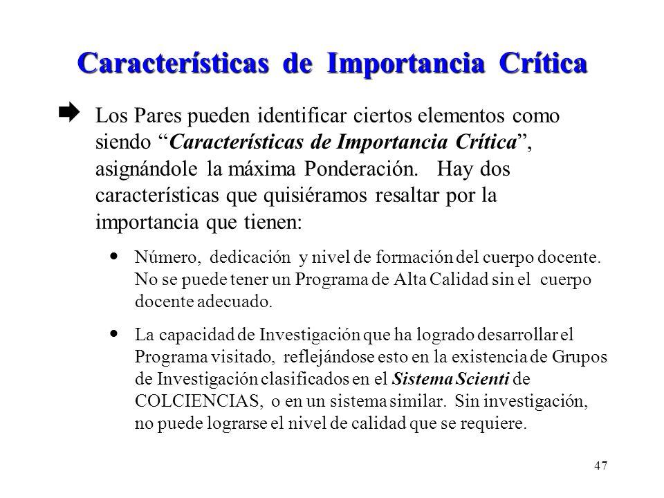 Características de Importancia Crítica