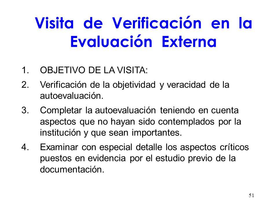 Visita de Verificación en la Evaluación Externa