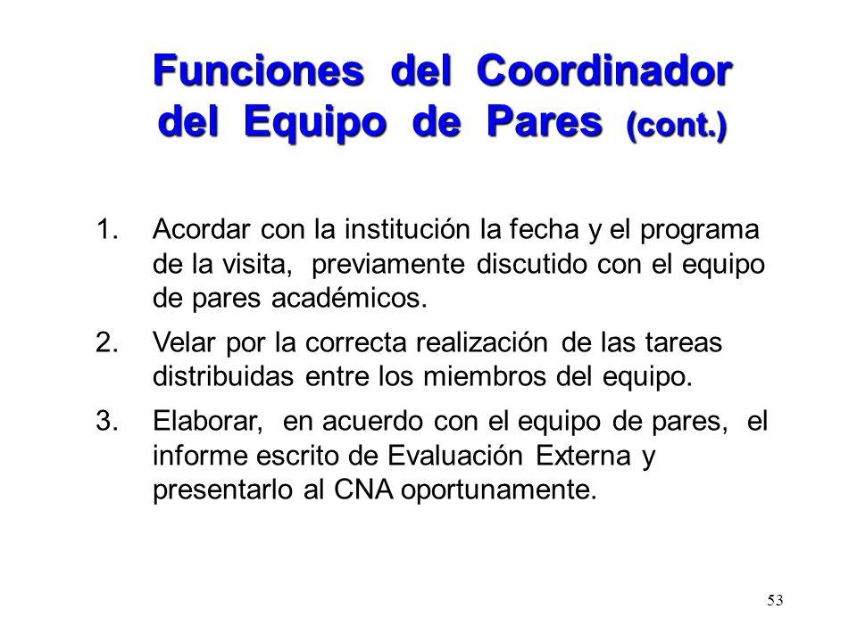 Funciones del Coordinador del Equipo de Pares (cont.)