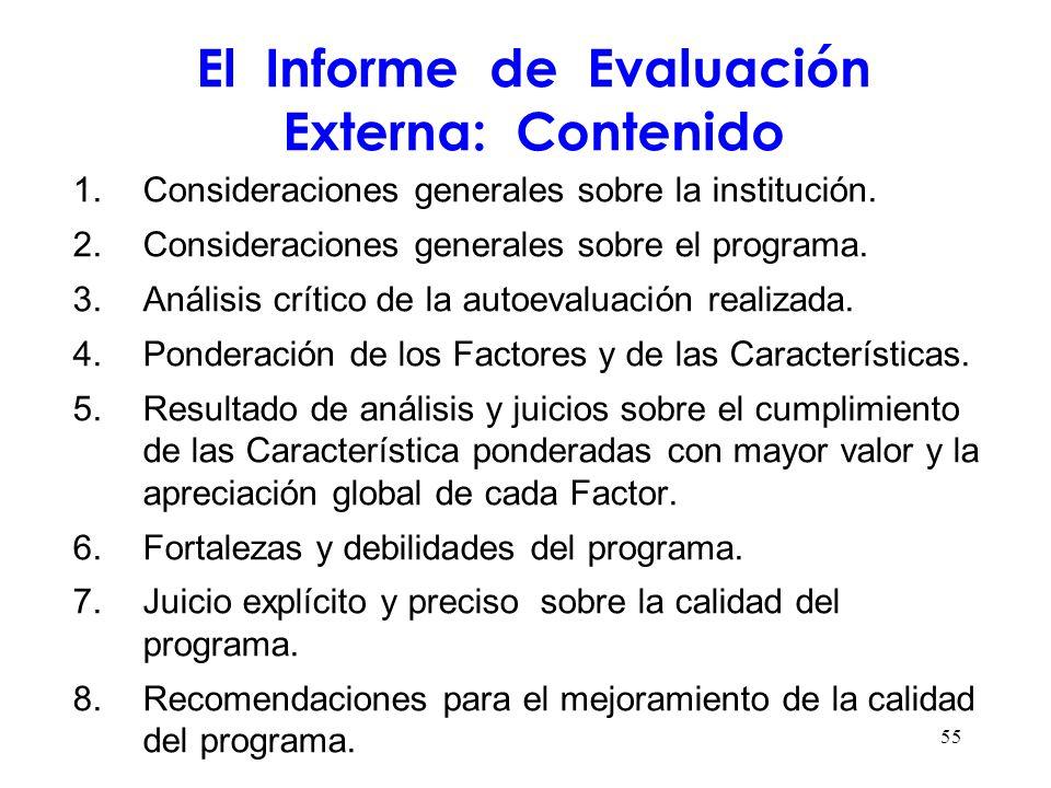 El Informe de Evaluación Externa: Contenido