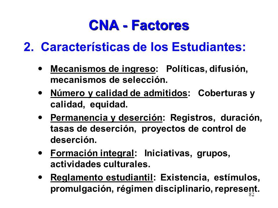 CNA - Factores 2. Características de los Estudiantes: