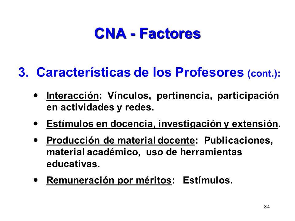 CNA - Factores 3. Características de los Profesores (cont.):