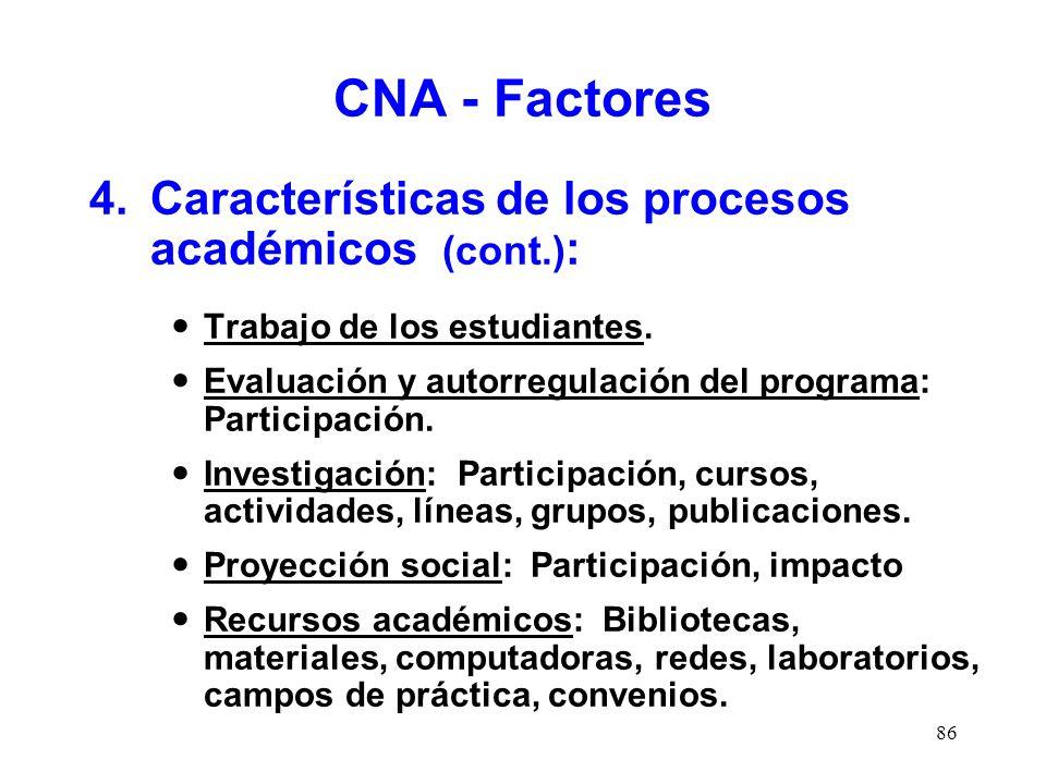 CNA - Factores 4. Características de los procesos académicos (cont.):