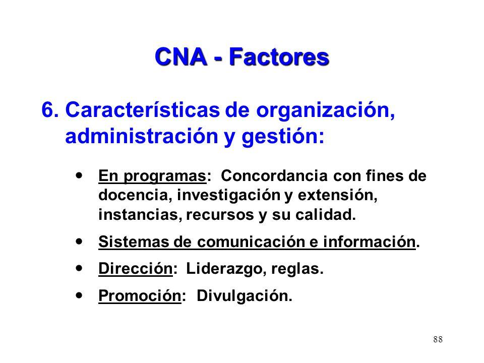 CNA - Factores 6. Características de organización, administración y gestión: