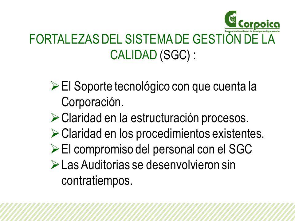 FORTALEZAS DEL SISTEMA DE GESTIÓN DE LA CALIDAD (SGC) :