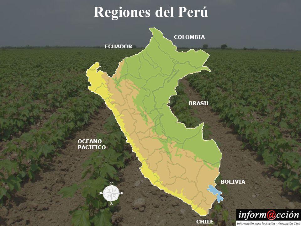 Regiones del Perú COLOMBIA ECUADOR BRASIL OCEANO PACIFICO BOLIVIA