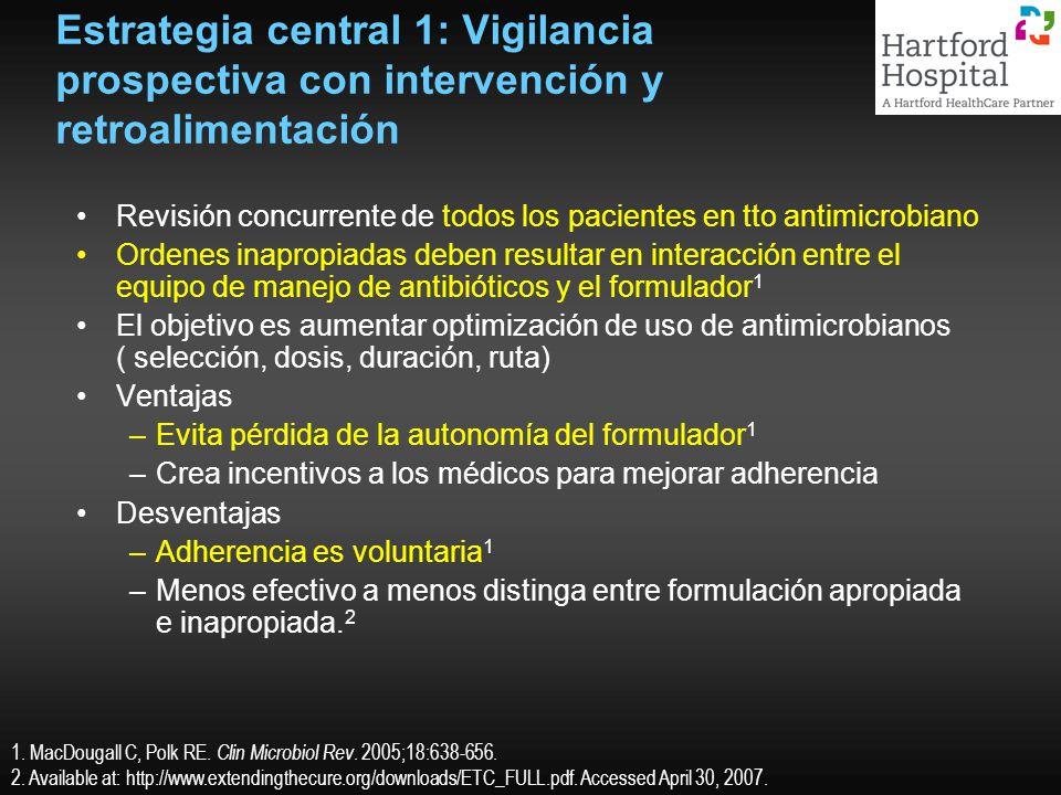 Estrategia central 1: Vigilancia prospectiva con intervención y retroalimentación