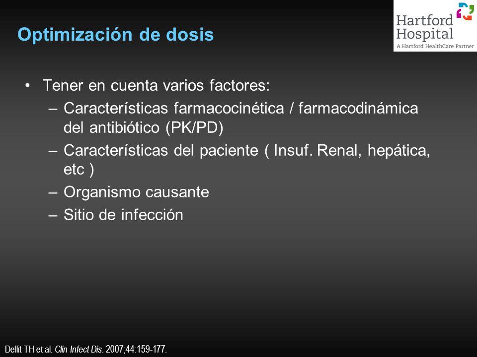 Optimización de dosis Tener en cuenta varios factores: