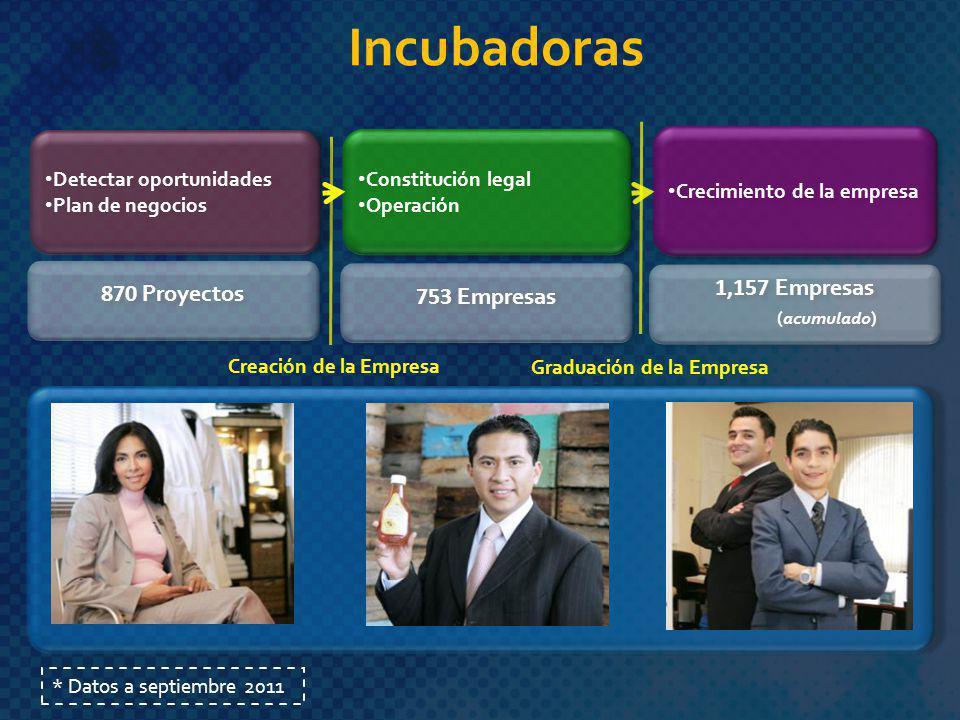 Incubadoras 870 Proyectos 753 Empresas 1,157 Empresas (acumulado)