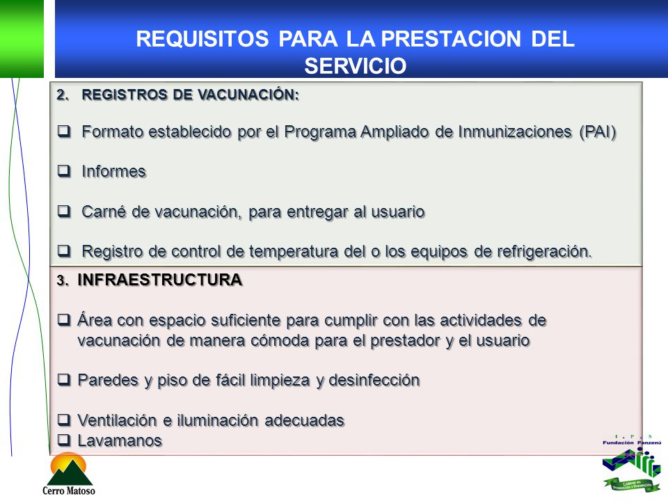 REQUISITOS PARA LA PRESTACION DEL SERVICIO