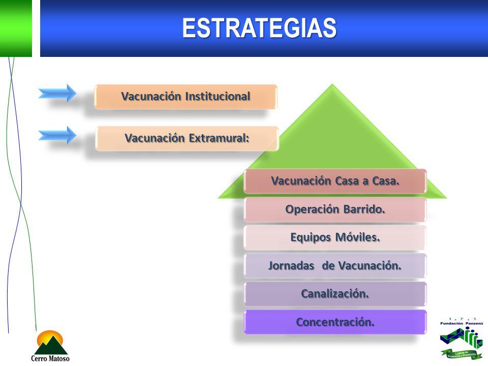 ESTRATEGIAS Vacunación Institucional Vacunación Extramural: