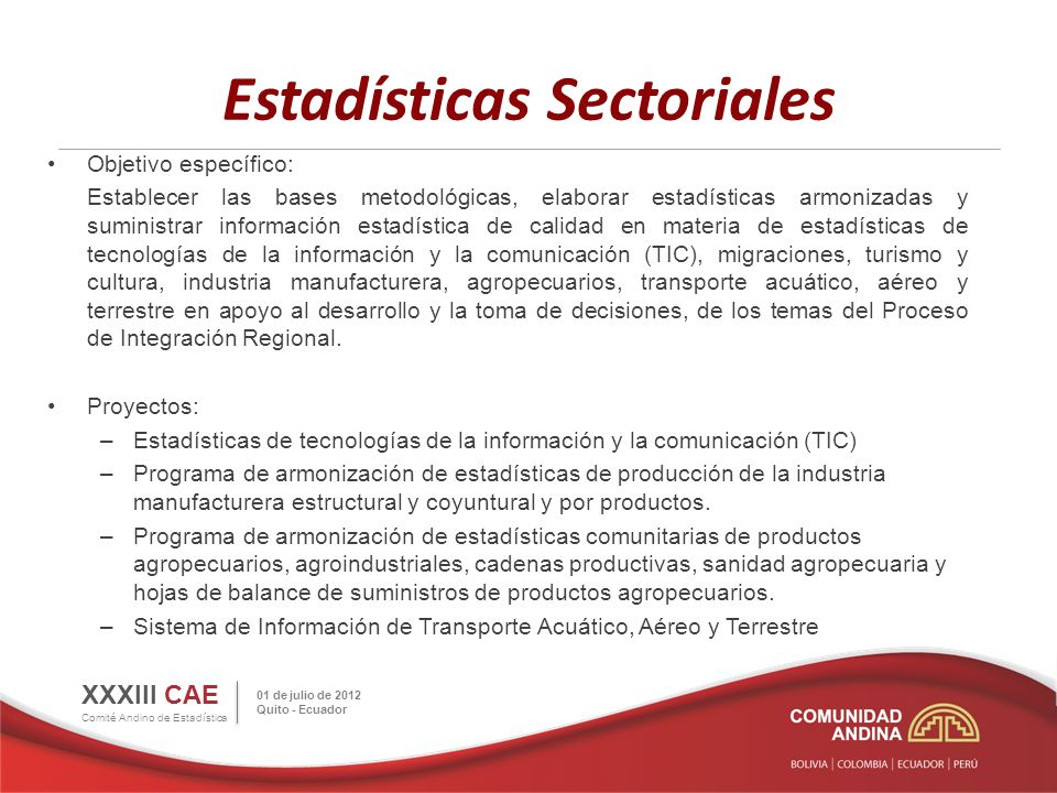 Estadísticas Sectoriales