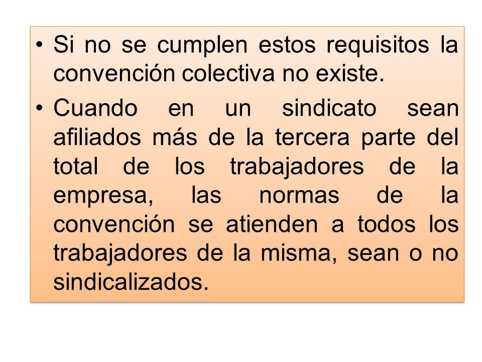 Si no se cumplen estos requisitos la convención colectiva no existe.