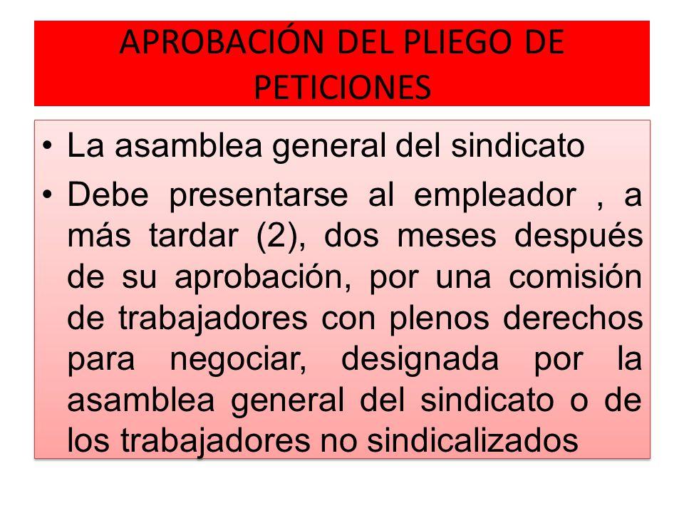 APROBACIÓN DEL PLIEGO DE PETICIONES
