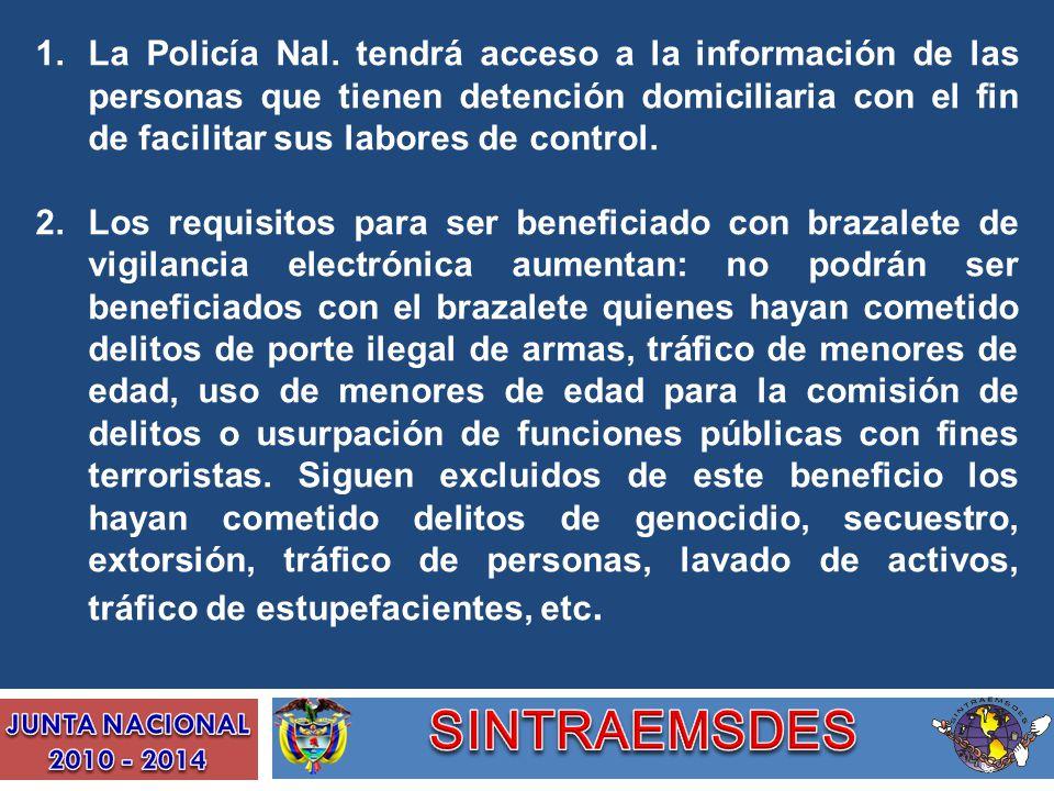 La Policía Nal. tendrá acceso a la información de las personas que tienen detención domiciliaria con el fin de facilitar sus labores de control.