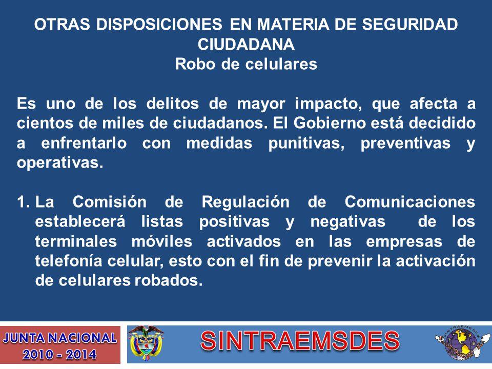 OTRAS DISPOSICIONES EN MATERIA DE SEGURIDAD CIUDADANA