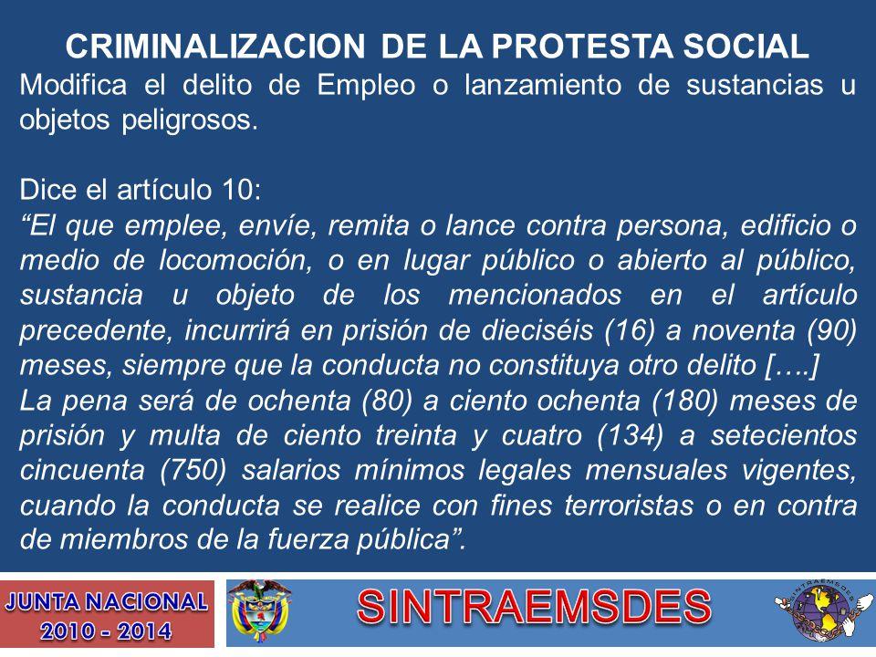 CRIMINALIZACION DE LA PROTESTA SOCIAL