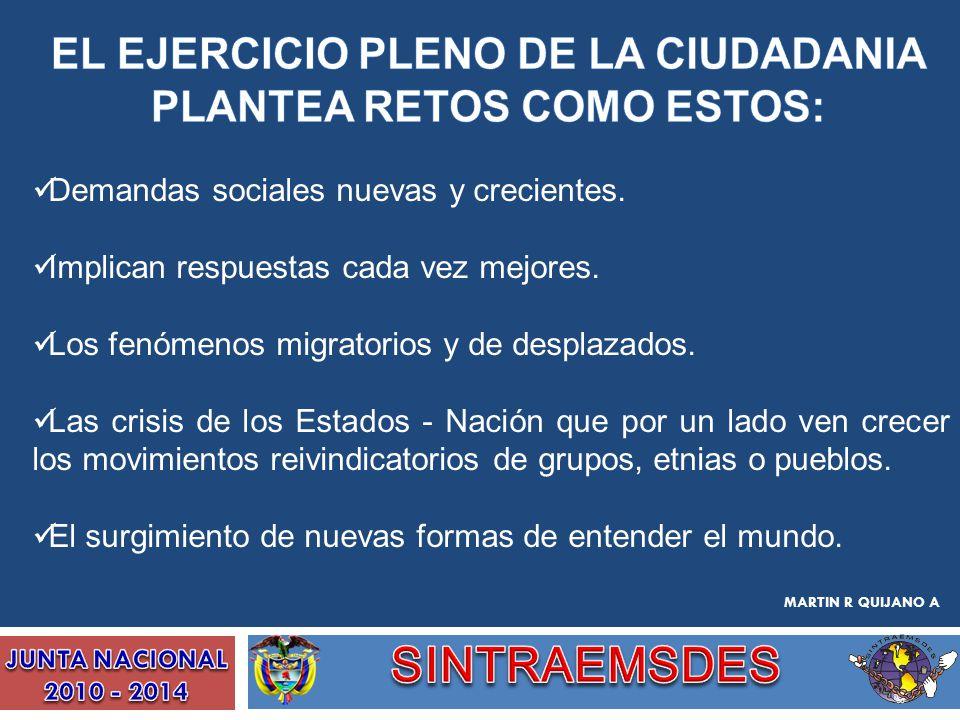 EL EJERCICIO PLENO DE LA CIUDADANIA PLANTEA RETOS COMO ESTOS: