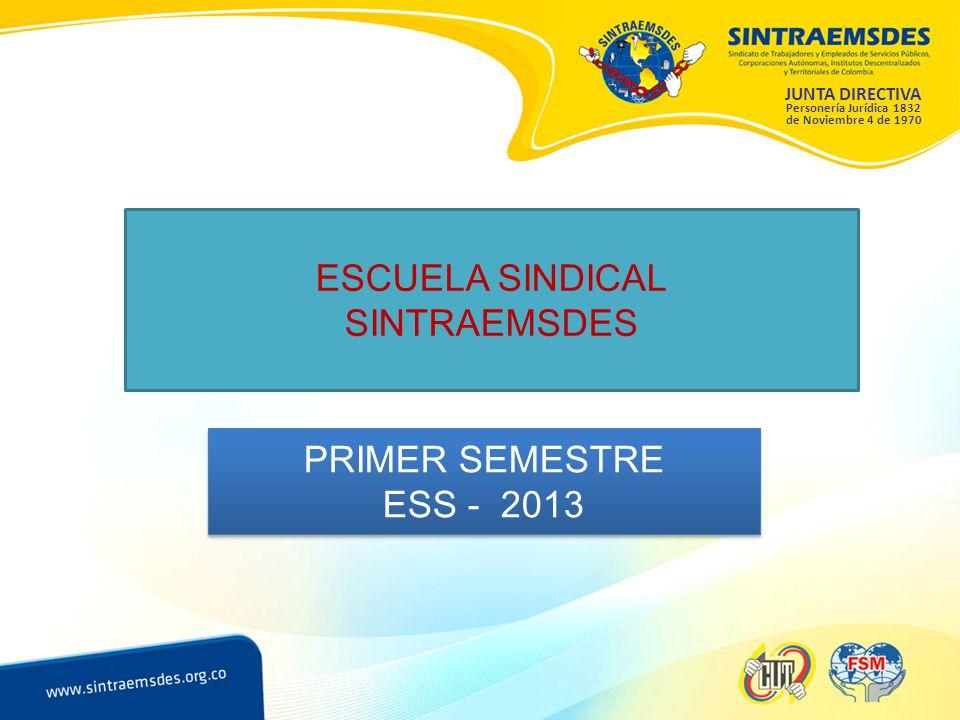 ESCUELA SINDICAL SINTRAEMSDES PRIMER SEMESTRE ESS - 2013