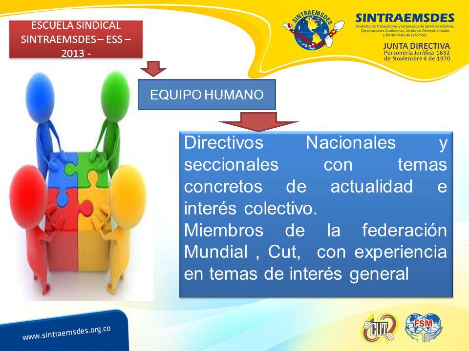 ESCUELA SINDICAL SINTRAEMSDES – ESS – 2013 -
