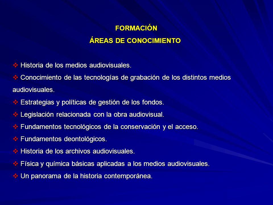 FORMACIÓN ÁREAS DE CONOCIMIENTO