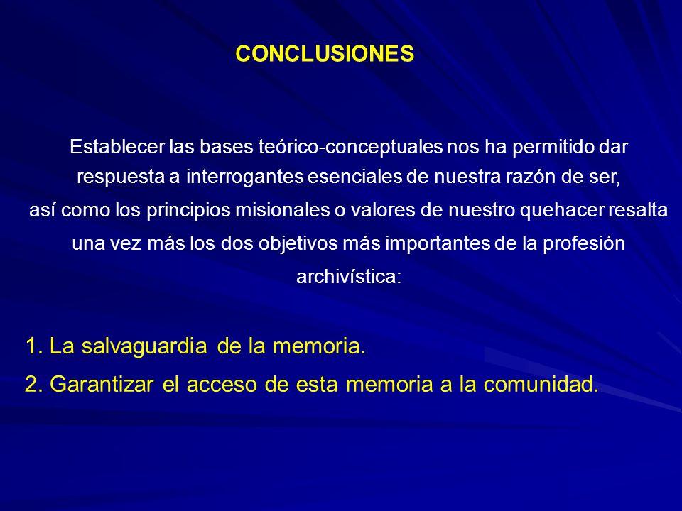 1. La salvaguardia de la memoria.