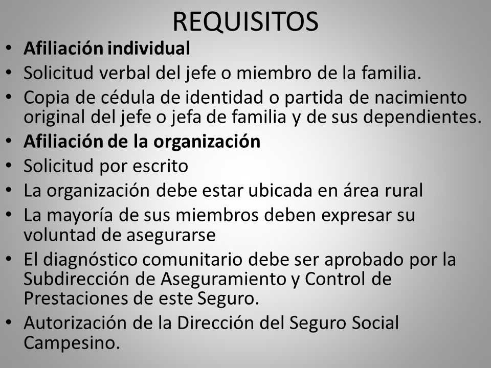 REQUISITOS Afiliación individual