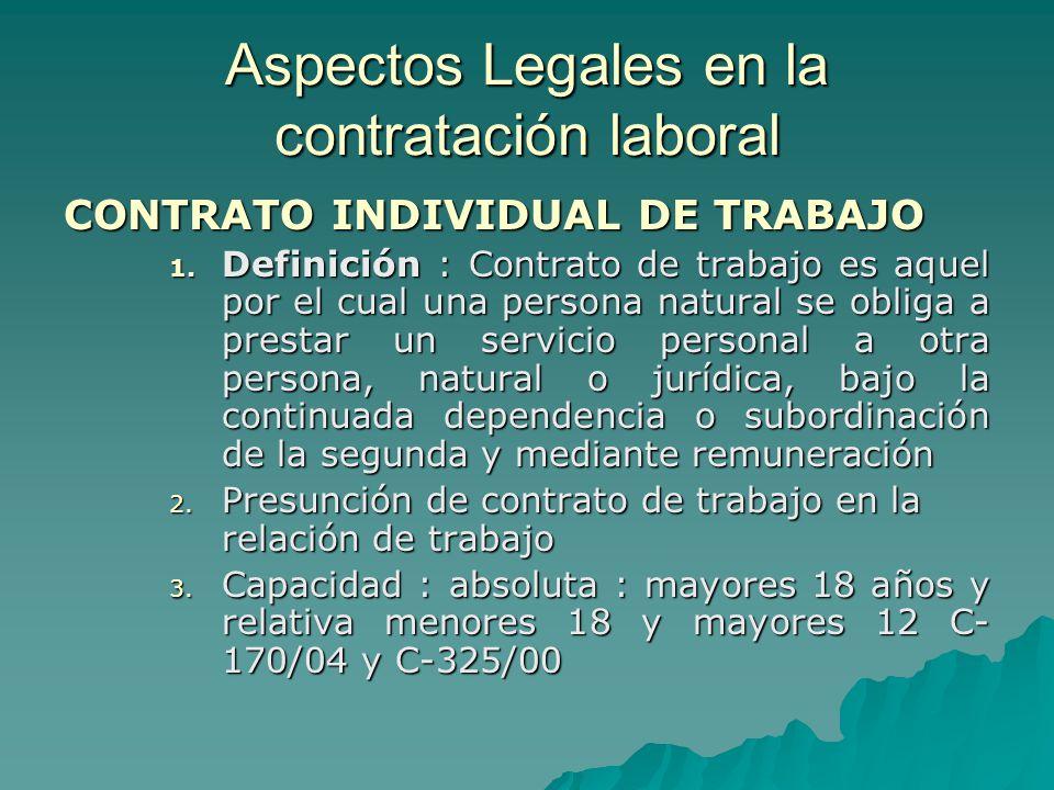 Aspectos Legales en la contratación laboral