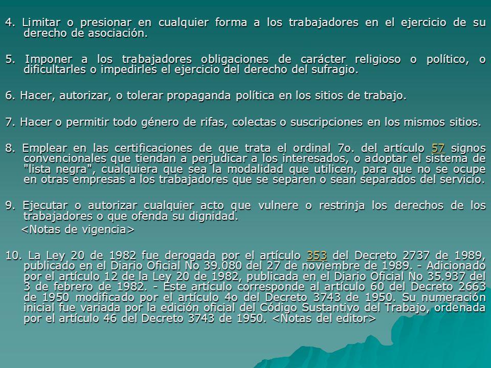 4. Limitar o presionar en cualquier forma a los trabajadores en el ejercicio de su derecho de asociación.
