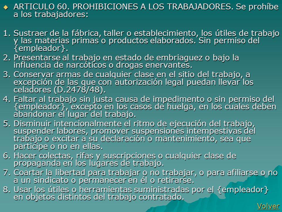 ARTICULO 60. PROHIBICIONES A LOS TRABAJADORES
