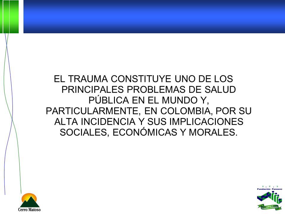 El trauma constituye uno de los principales problemas de salud pública en el mundo y, particularmente, en Colombia, por su alta incidencia y sus implicaciones sociales, económicas y morales.