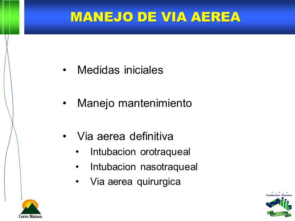 MANEJO DE VIA AEREA Medidas iniciales Manejo mantenimiento
