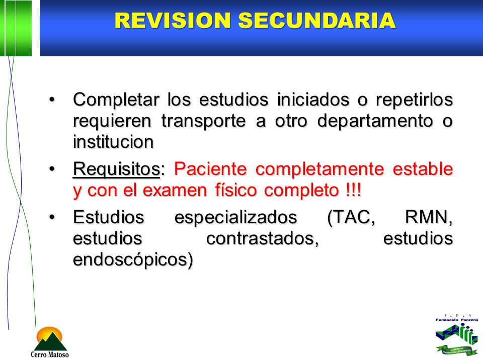 REVISION SECUNDARIA Completar los estudios iniciados o repetirlos requieren transporte a otro departamento o institucion.