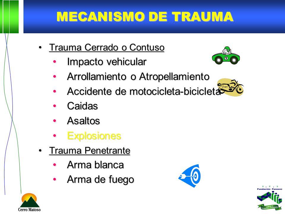 Mecanismo de trauma Impacto vehicular Arrollamiento o Atropellamiento