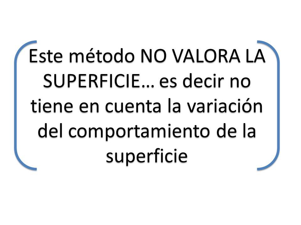 Este método NO VALORA LA SUPERFICIE… es decir no tiene en cuenta la variación del comportamiento de la superficie