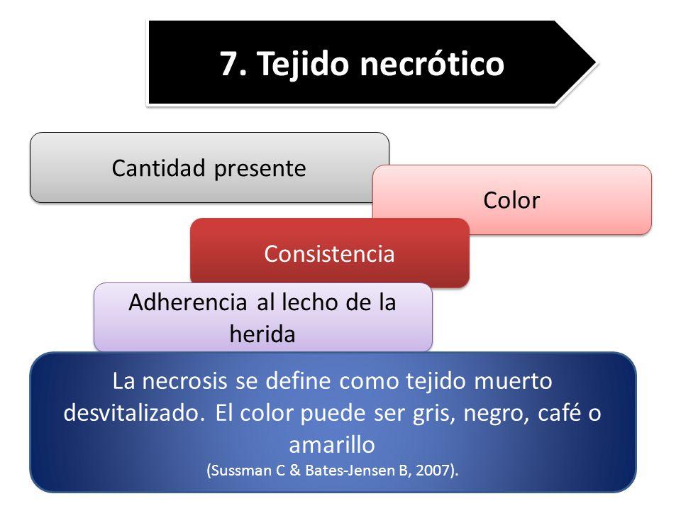 7. Tejido necrótico Cantidad presente Color Consistencia