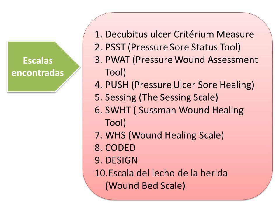Decubitus ulcer Critérium Measure PSST (Pressure Sore Status Tool)