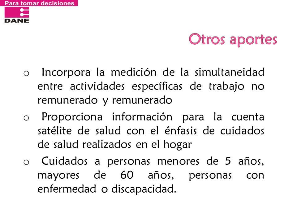 Otros aportes Incorpora la medición de la simultaneidad entre actividades específicas de trabajo no remunerado y remunerado.