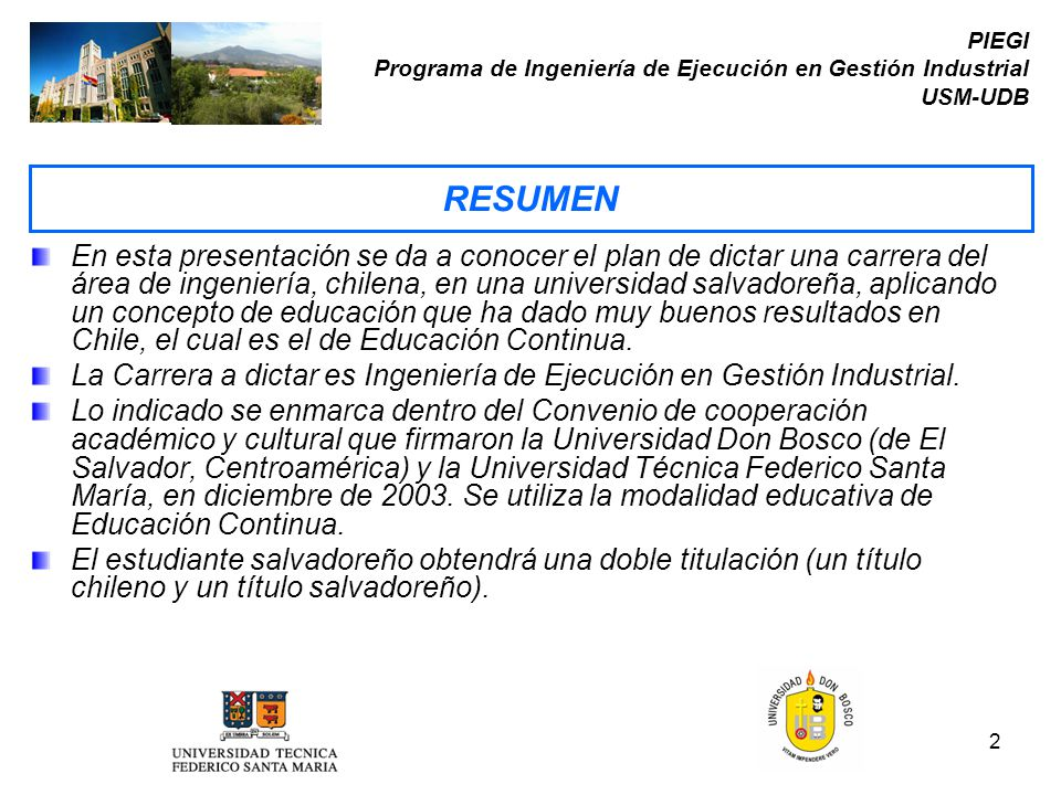 PIEGI Programa de Ingeniería de Ejecución en Gestión Industrial USM-UDB