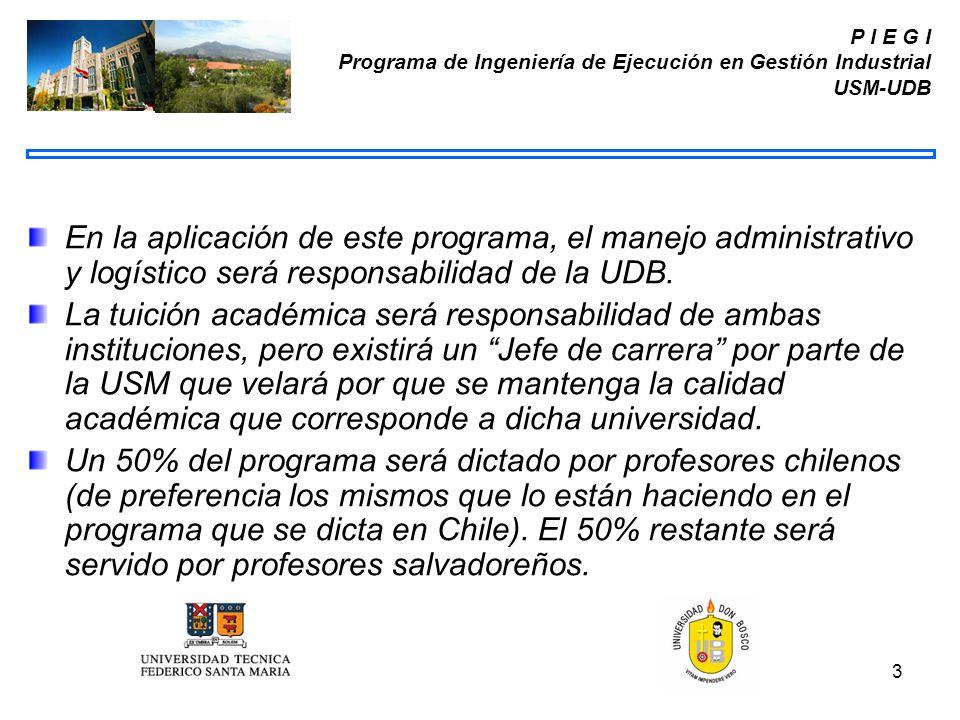 P I E G I Programa de Ingeniería de Ejecución en Gestión Industrial USM-UDB