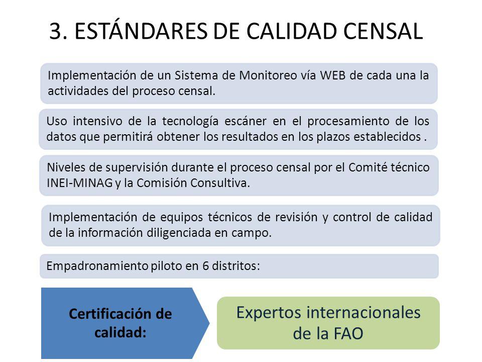 3. ESTÁNDARES DE CALIDAD CENSAL