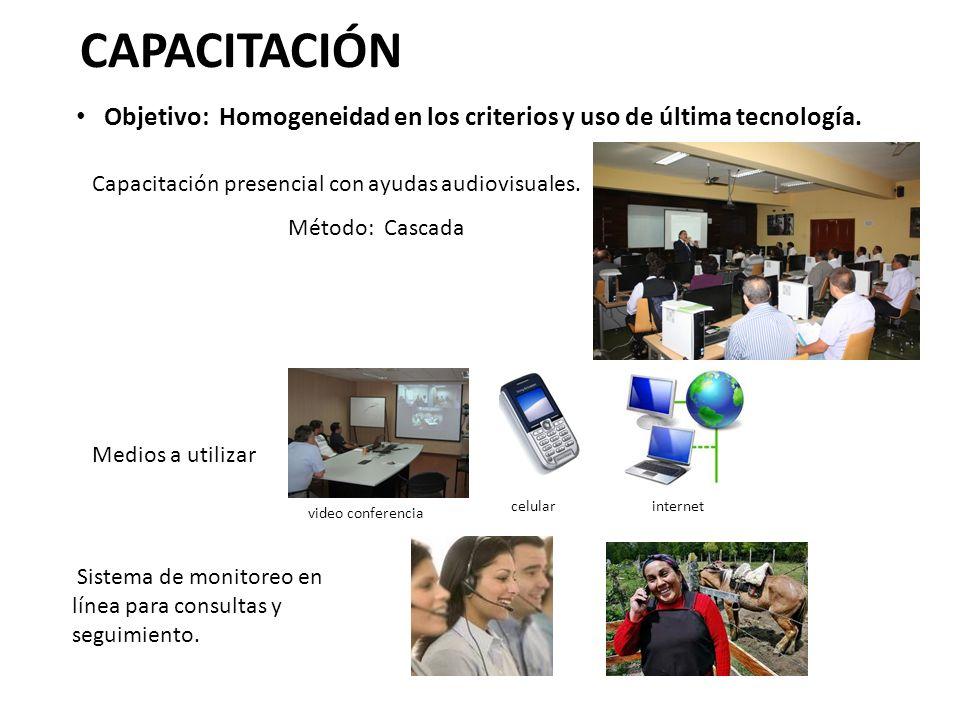 CAPACITACIÓN Objetivo: Homogeneidad en los criterios y uso de última tecnología. Capacitación presencial con ayudas audiovisuales.
