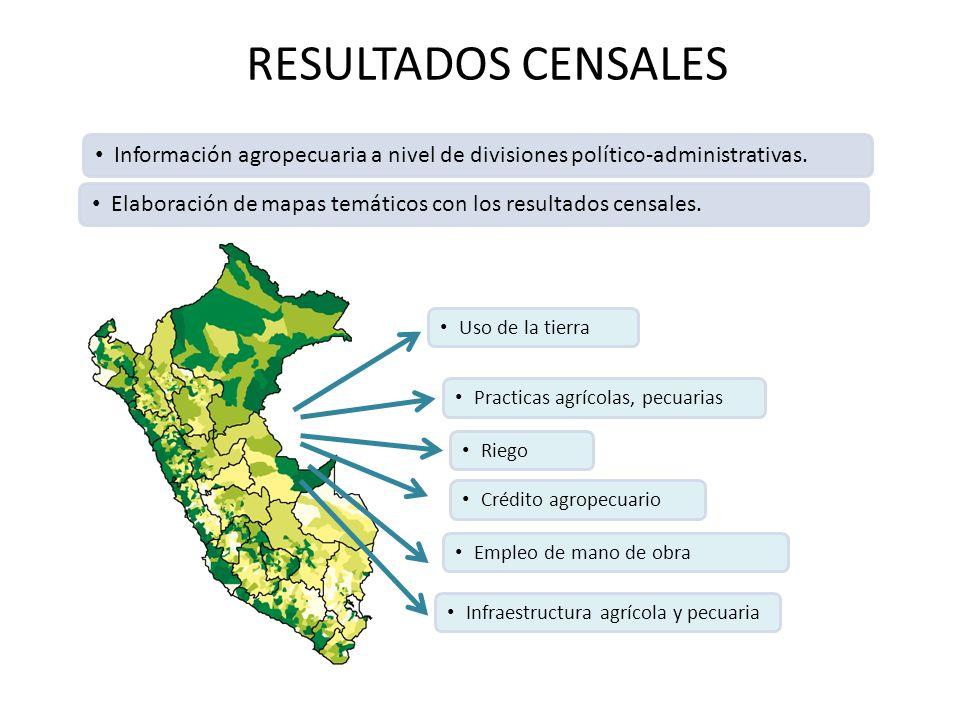 RESULTADOS CENSALES Información agropecuaria a nivel de divisiones político-administrativas.