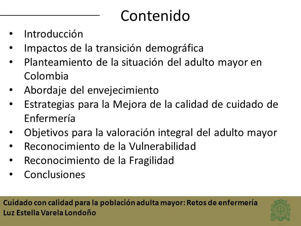 Contenido Introducción Impactos de la transición demográfica