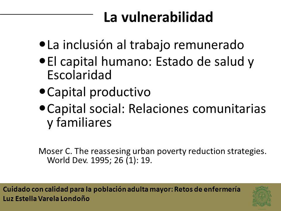 La vulnerabilidad La inclusión al trabajo remunerado