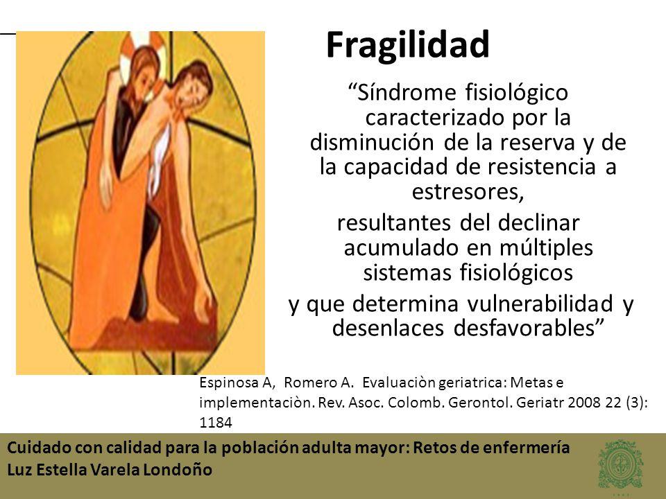 Fragilidad Síndrome fisiológico caracterizado por la disminución de la reserva y de la capacidad de resistencia a estresores,