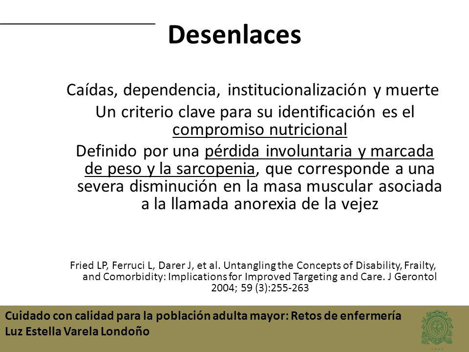 Desenlaces Caídas, dependencia, institucionalización y muerte