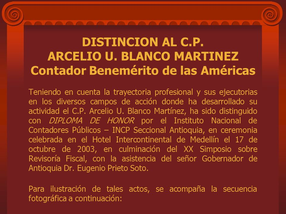 DISTINCION AL C. P. ARCELIO U
