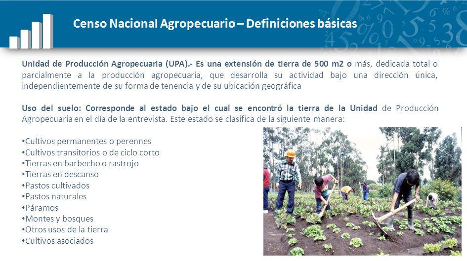 Censo Nacional Agropecuario – Definiciones básicas