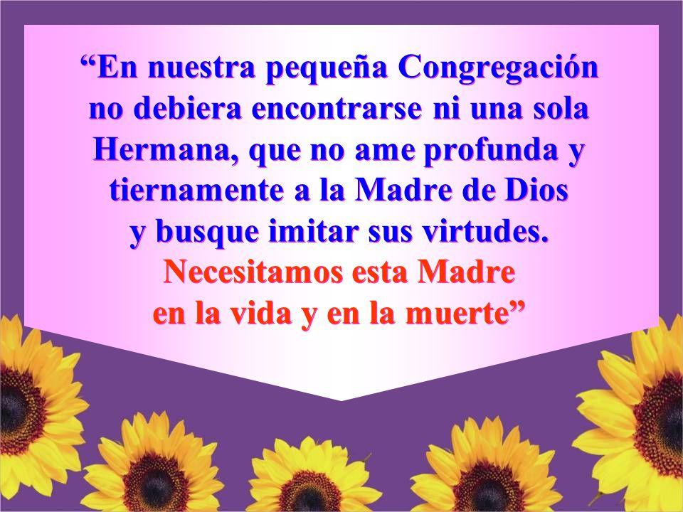 En nuestra pequeña Congregación no debiera encontrarse ni una sola Hermana, que no ame profunda y tiernamente a la Madre de Dios y busque imitar sus virtudes.